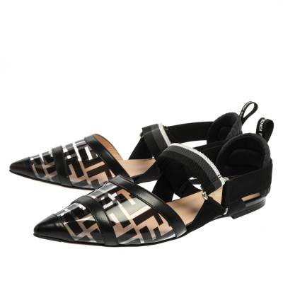 Fendi Black PVC And Leather Trim Colibrì Pointed Toe Flats Sandals Size 38.5 358436 - 3