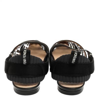 Fendi Black PVC And Leather Trim Colibrì Pointed Toe Flats Sandals Size 38.5 358436 - 4