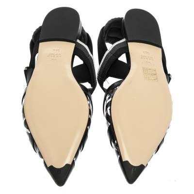Fendi Black PVC And Leather Trim Colibrì Pointed Toe Flats Sandals Size 38.5 358436 - 5