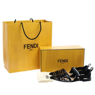 Fendi Black PVC And Leather Trim Colibrì Pointed Toe Flats Sandals Size 38.5 358436 - 7