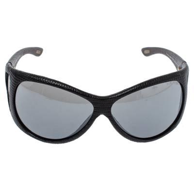 Tom Ford Black Natasha Textured Leather Shield Sunglasses 357025 - 1