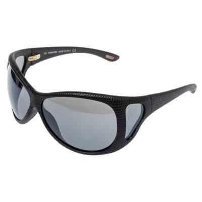 Tom Ford Black Natasha Textured Leather Shield Sunglasses 357025 - 2