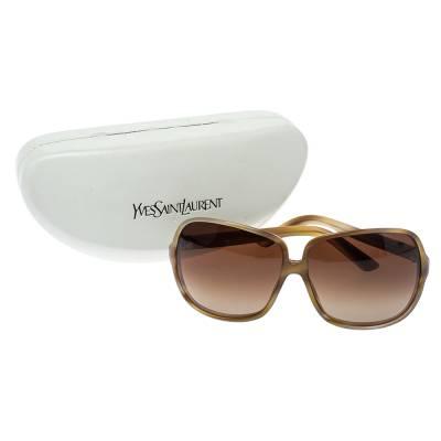 Yves Saint Laurent Beige/Brown Gradient YSL 6134/S Oversized Sunglasses 357020 - 6