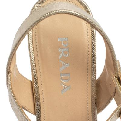 Prada Gold Saffiano Vernice Leather Criss Cross Platform Sandals Size 38.5 360230 - 6