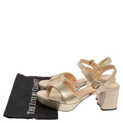 Prada Gold Saffiano Vernice Leather Criss Cross Platform Sandals Size 38.5 360230 - 7