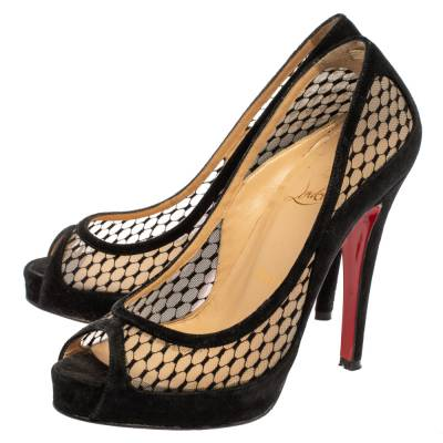 Christian Louboutin Black Mesh and Suede Camilla Platform Pumps Size 35 360235 - 3