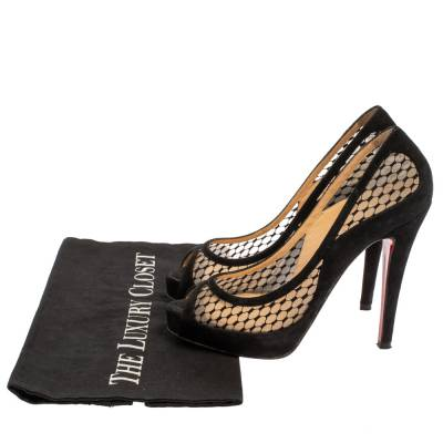 Christian Louboutin Black Mesh and Suede Camilla Platform Pumps Size 35 360235 - 7