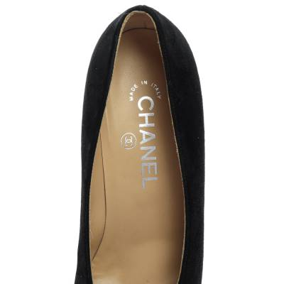 Chanel Black/Silver Suede and Leather Cap Toe Block Heel Pumps Size 37.5 357806 - 6