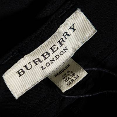 Burberry London Black Wool Blend Tailored Trousers S 359973 - 4