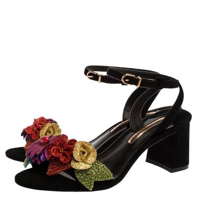 Sophia Webster Black Suede Lilico Crystal And Glitter Embellished Ankle Strap Sandals Size 37 359972 - 3