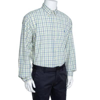 Ralph Lauren Pale Yellow Checked Cotton Button Down Shirt 3XL 358337 - 1
