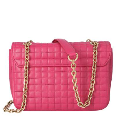 Celine Pink Medium Quilted Calfskin Leather C Bag 359557 - 2