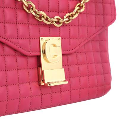 Celine Pink Medium Quilted Calfskin Leather C Bag 359557 - 3