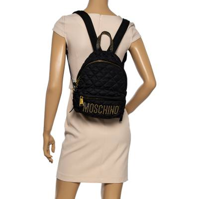 Moschino Black Nylon Quilted Logo Studded Backpack 359679 - 1
