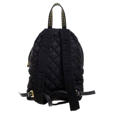 Moschino Black Nylon Quilted Logo Studded Backpack 359679 - 3