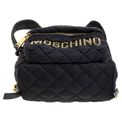 Moschino Black Nylon Quilted Logo Studded Backpack 359679 - 5