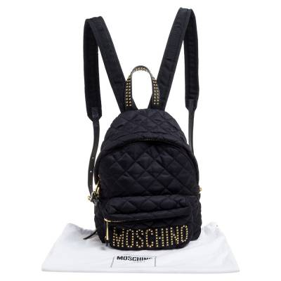 Moschino Black Nylon Quilted Logo Studded Backpack 359679 - 9