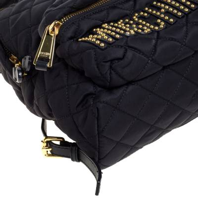 Moschino Black Nylon Quilted Logo Studded Backpack 359679 - 10