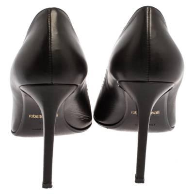 Roberto Cavalli Black Leather Metal Cap Toe Pumps Size 39.5 360222 - 4