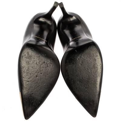Roberto Cavalli Black Leather Metal Cap Toe Pumps Size 39.5 360222 - 5