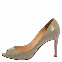 Christian Louboutin Grey Patent Leather Youyou Peep Toe Pumps Size 36 360228