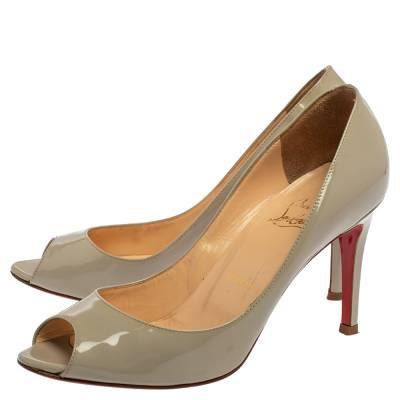 Christian Louboutin Grey Patent Leather Youyou Peep Toe Pumps Size 36 360228 - 3