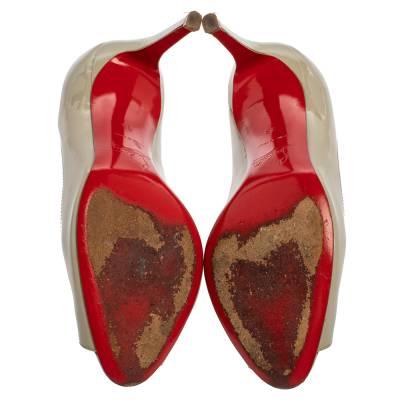 Christian Louboutin Grey Patent Leather Youyou Peep Toe Pumps Size 36 360228 - 5