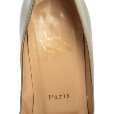 Christian Louboutin Grey Patent Leather Youyou Peep Toe Pumps Size 36 360228 - 6