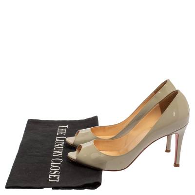Christian Louboutin Grey Patent Leather Youyou Peep Toe Pumps Size 36 360228 - 7