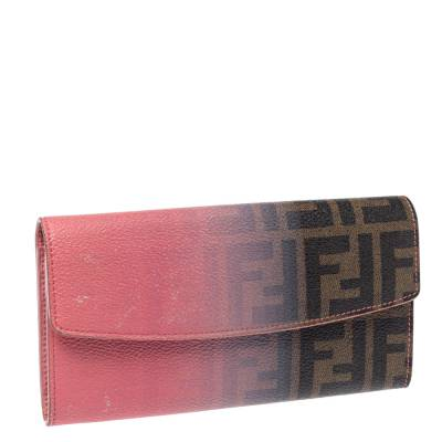 Fendi Pink Ombre Zucca Coated Canvas Continental Wallet 360359 - 2