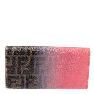 Fendi Pink Ombre Zucca Coated Canvas Continental Wallet 360359 - 3