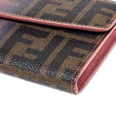 Fendi Pink Ombre Zucca Coated Canvas Continental Wallet 360359 - 9
