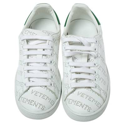 Vetements White Perforated Leather Low Top Sneakers Size 35 359300 - 2