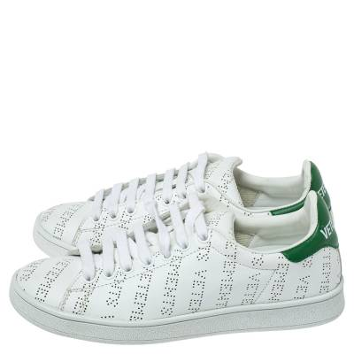 Vetements White Perforated Leather Low Top Sneakers Size 35 359300 - 3