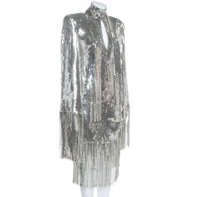 Balmain Silver Sequined Fringed Scarf Dress M 359411 - 1