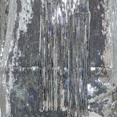 Balmain Silver Sequined Fringed Scarf Dress M 359411 - 3