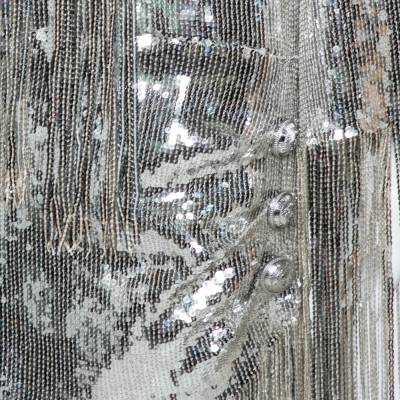 Balmain Silver Sequined Fringed Scarf Dress M 359411 - 4