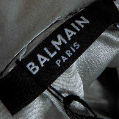 Balmain Silver Sequined Fringed Scarf Dress M 359411 - 5