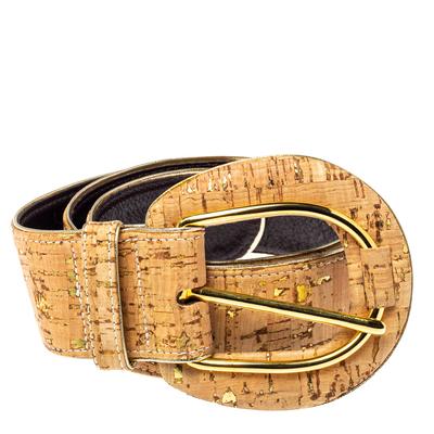 Oscar De La Renta Beige Cork and Leather Waist Belt 360364 - 1