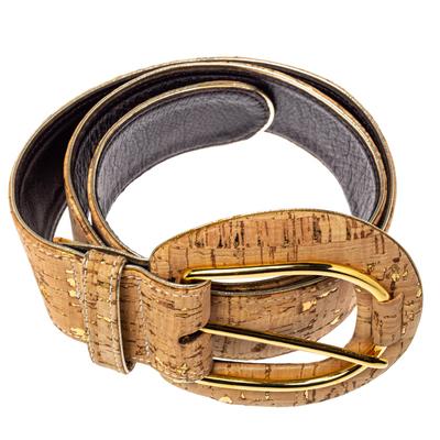 Oscar De La Renta Beige Cork and Leather Waist Belt 360364 - 2
