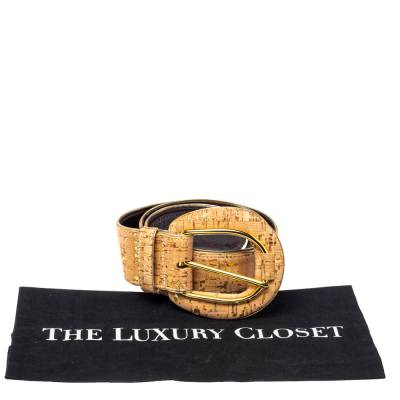 Oscar De La Renta Beige Cork and Leather Waist Belt 360364 - 5