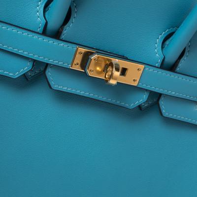 Hermes Ciel Swift Leather Gold Hardware Birkin 25 Bag 360367 - 4