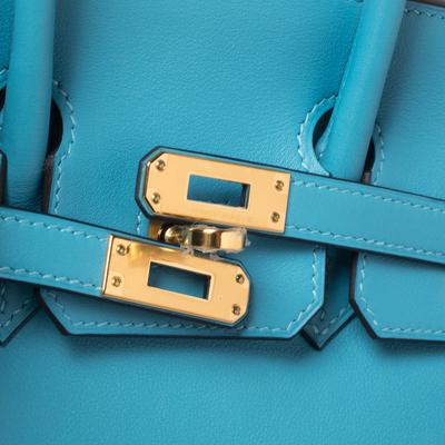 Hermes Ciel Swift Leather Gold Hardware Birkin 25 Bag 360367 - 5