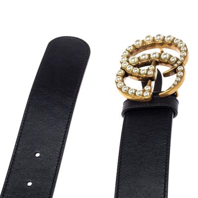 Gucci Black Leather GG Marmont Pearl Embellished Buckle Belt 90CM 360373 - 3