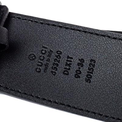 Gucci Black Leather GG Marmont Pearl Embellished Buckle Belt 90CM 360373 - 4
