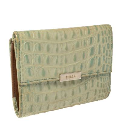Furla Mint Green Croc Embossed Leather Compact Wallet 360372 - 4