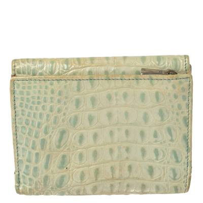 Furla Mint Green Croc Embossed Leather Compact Wallet 360372 - 5