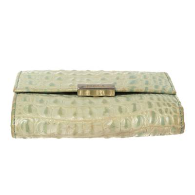 Furla Mint Green Croc Embossed Leather Compact Wallet 360372 - 7