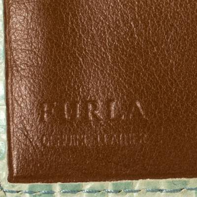 Furla Mint Green Croc Embossed Leather Compact Wallet 360372 - 8