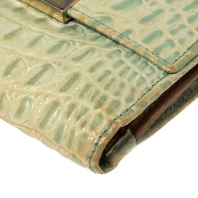 Furla Mint Green Croc Embossed Leather Compact Wallet 360372 - 9